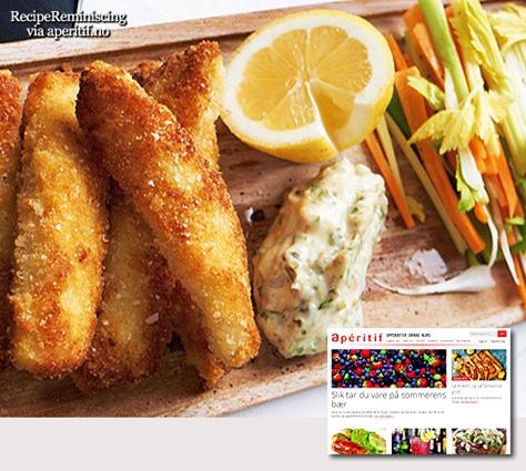 Hjemmelagde fiskepinner med remulade og grønnsaksstaver_post