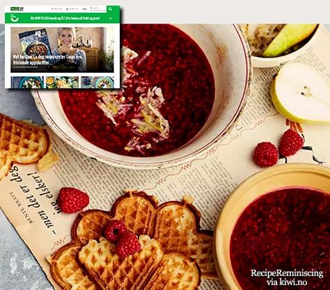 Varm bringebærsuppe med pæresalat og vafler_post