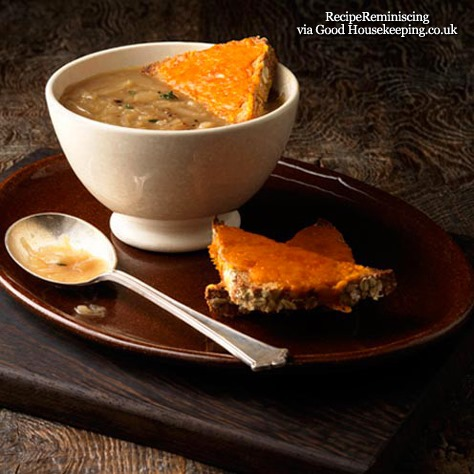 British Onion Soup with Red Leicester Toast