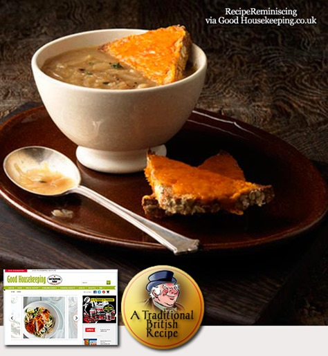 British Onion Soup with Red Leicester Toast / British Løksuppe med Rød Leicester Toast