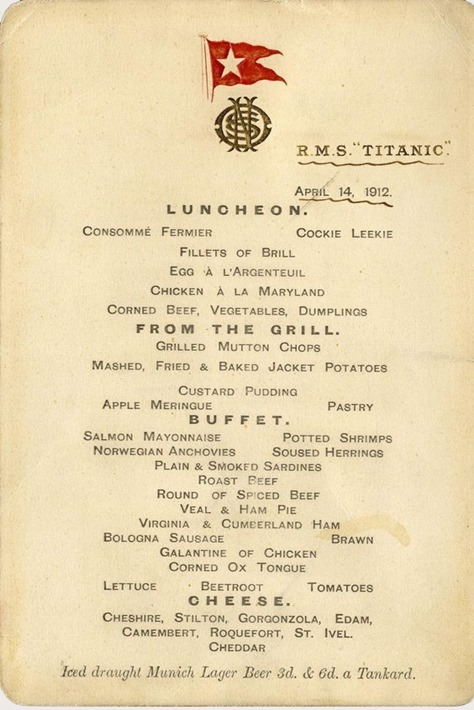 Titanic Lunch Menu Expected To Make 100 000 At Auction