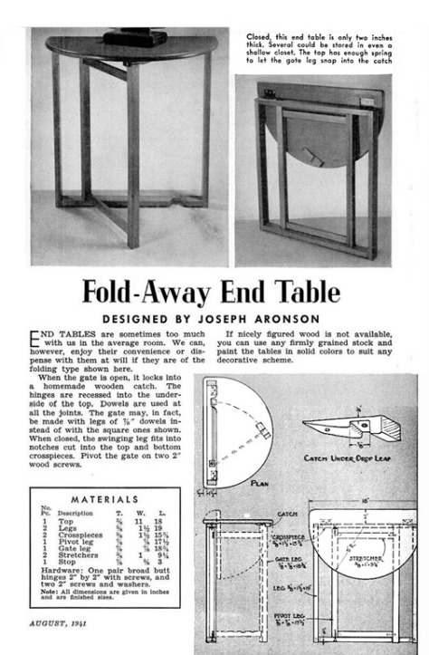 Fold Away End Table
