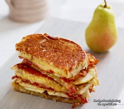 Cheese Sandwich with Bacon, Pear and Caramelized Onions