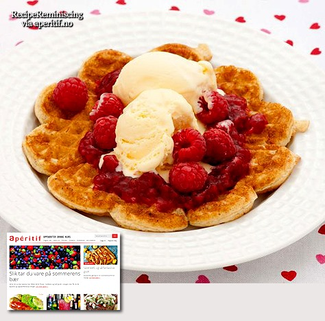 Apple Waffles With Ice Cream And Raspberries / Eplevafler Med Is Og Bringebær