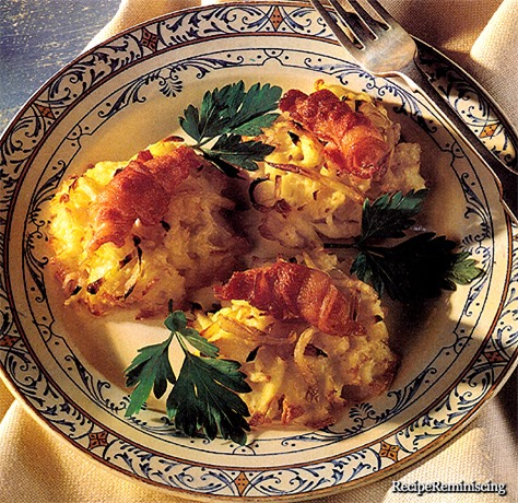 Potetkaker med Sprøstekt Flesk