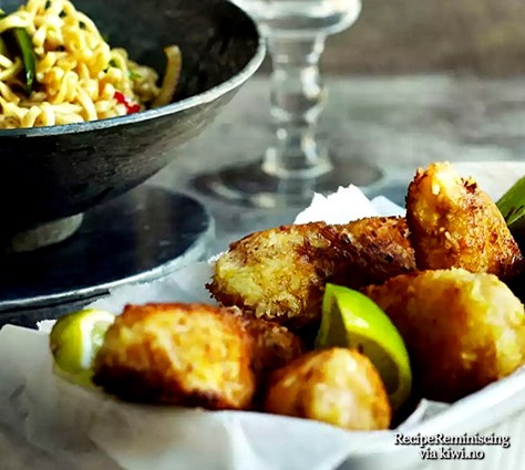 Fried Cod and Shrimp Panettas with Spicy Noodle Salad