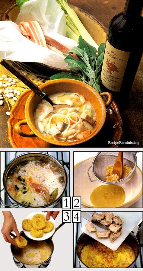 Pasta Con I Fagioli -Suppe med Hvite Bønner og Nudler
