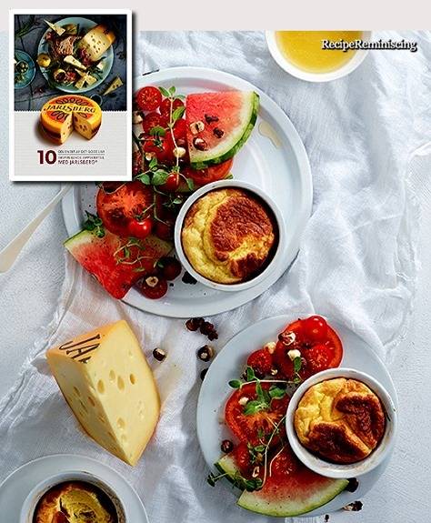 Cheese Suffle with Tomato and Watermelon Salad