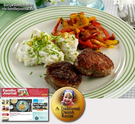Traditional Danish Cold Potato Salad with Frikadells / Kold Kartoffelsalat med Frikadeller