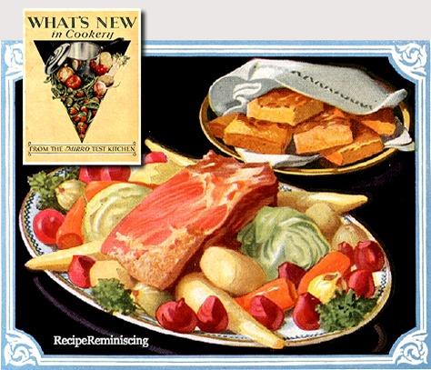 New England Boiled Dinner with Cranberry Pudding