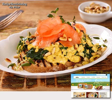 Eggerøre med Røkt Laks, Spinat og Pinjekjerner
