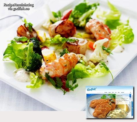 Grillet Kamskjell og Sjøkreps med Varm Salat