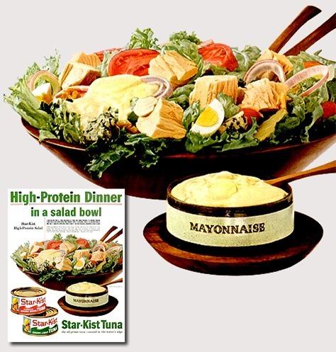 En høyproteinmiddag i en Salatbolle
