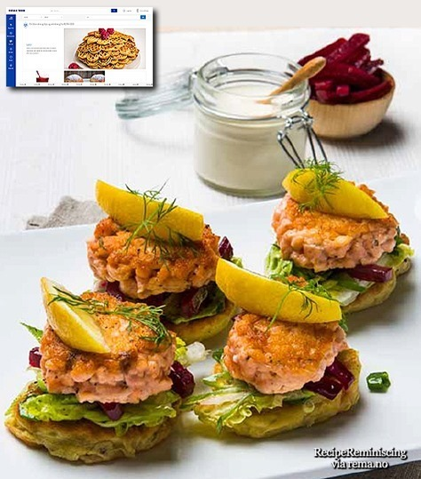Salmon Burgers on Potato Patties / Grove Laksekarbonader på Potetlapper