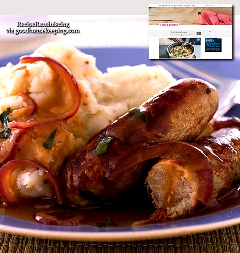 Sausages with Mustard Mash and Red Onion Gravy