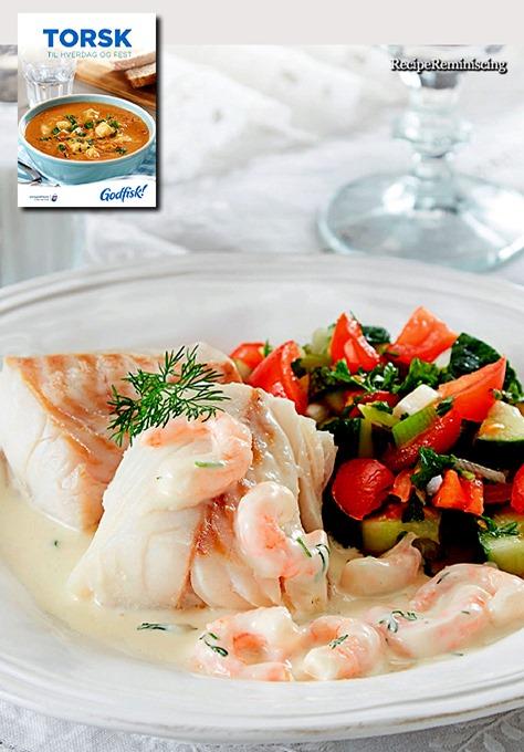 Ovnsbakt Torsk med Salat og Rekesaus