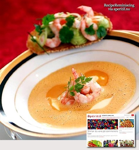 Shellfish Soup with Shrimp and Avocado Cream / Skalldyrsuppe med Reker og Avokadokrem