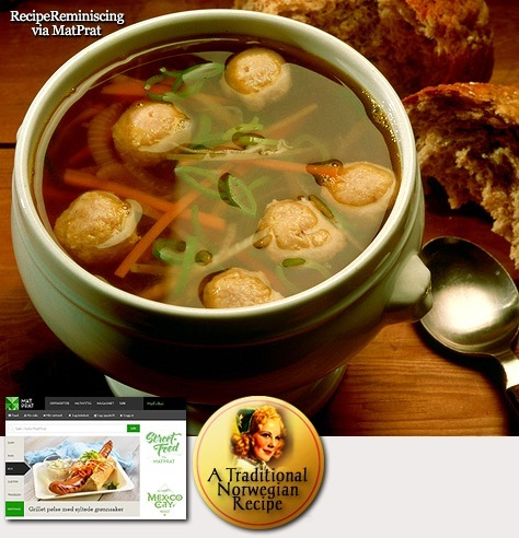 Traditional Norwegian Vegetable soup with Meatballs