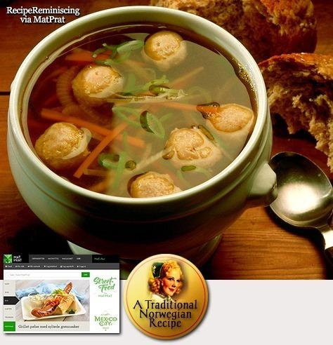 Traditional Norwegian Vegetable Soup with Meatballs / Grønnsaksuppe med Kjøttboller
