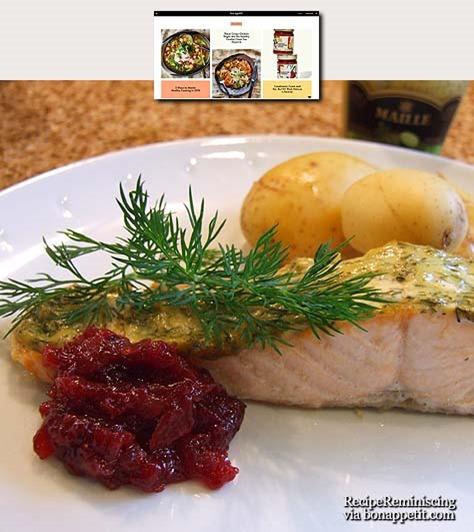 Mustard-Roasted Salmon with Ligonberry Sauce